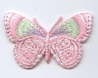 Pink and Green Iron on Butterfly Iron on Applique 240144B