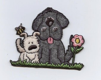 Two puppy dogs with Flower Iron on Applique 696905B