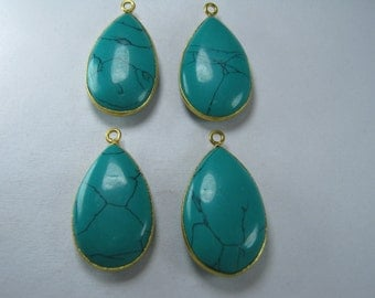 Green Turquoise Bezel Connector - Teardrop Shaped Connector, Single Bail 1 pc