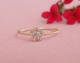 CZ Flower Ring, 14K Gold Plated Ring, Bridesmaid Ring