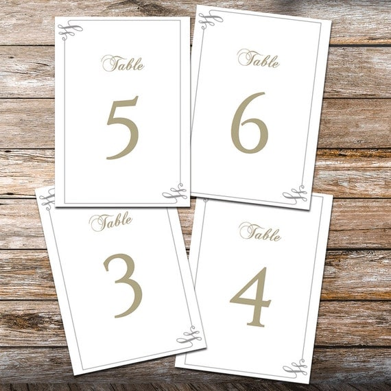 Printable wedding table numbers template swash by for Table numbers for wedding reception templates