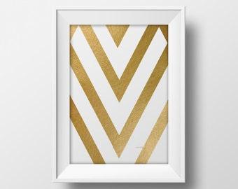 Modern printable wall art, printable gold foil design poster, modern art instant download print, minimalistic art print modern poster gold