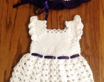Beautiful violet and white baby girl dress and hat