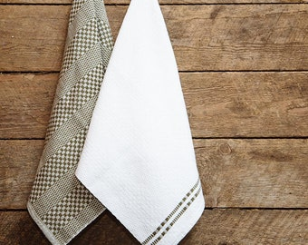 Handwoven dish towels – Extra large – Khaki and white – Solo