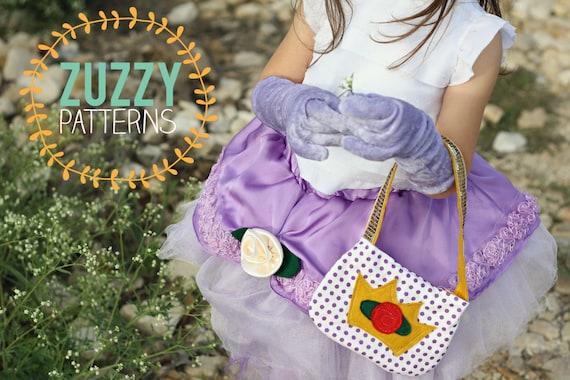 Plum Princess Gloves pdf sewing pattern with bonus purse pattern