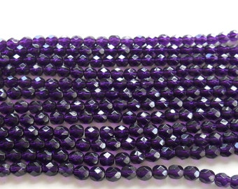 25 6mm Tanzanite Czech glass beads, purple, amethyst, firepolished, faceted round beads, C3425