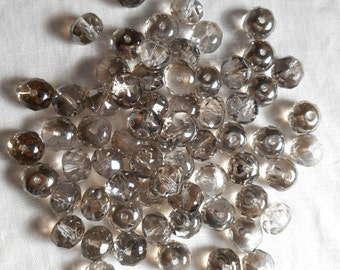 25 6 x 9mm Platinum Silver faceted puffy rondelle beads, Czech glass beads C8425