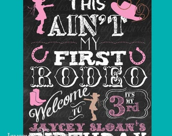 16x20 Personalized Chalkboard Birthday Party Cowgirl Cowboy Sign This Aint My First Rodeo Digital