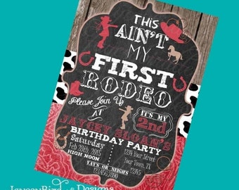 Personalized This Aint My First Rodeo Girls Cowgirl Birthday Invitation