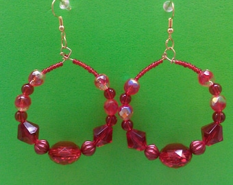 Beautiful Red Beaded Earrings