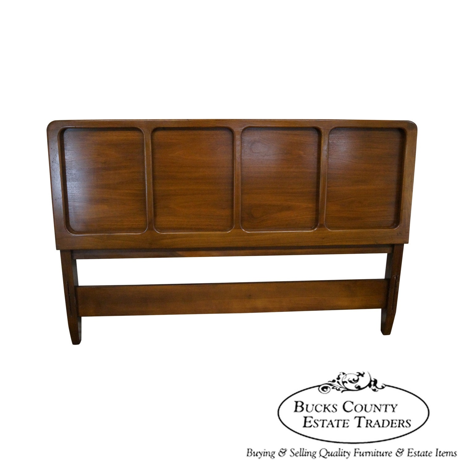 Vintage mid century modern walnut full size headboard Modern bedroom with antique furniture