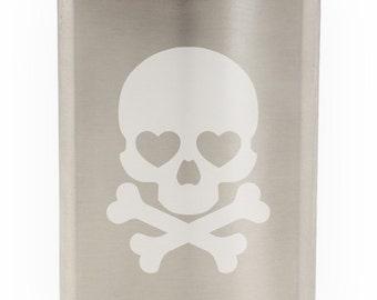 Heart Eyed Male Skull And Crossed Bones Etched Hip Flask 8oz