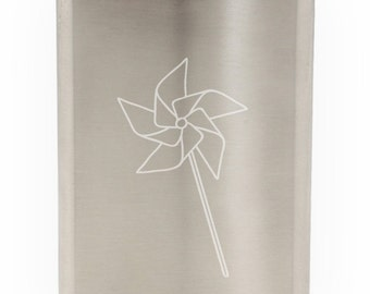 Summer Pin Wheel Etched Hip Flask 8oz