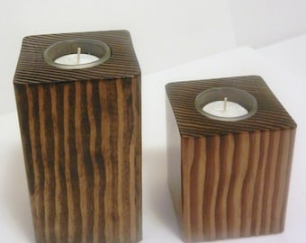 Rustic Wood Tealight Candle Holder/ Candle holder/ Tealight/ Tealight candle /Wedding Decor / House Warming gift