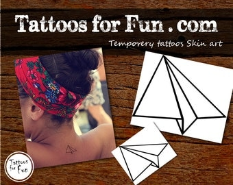 Paper Airplane Temporary Tattoo- Choose Your Pack- Paper Plane Fake Tattoos- Fly Like Paper Body Sticker- Airplane stick On Tattoos