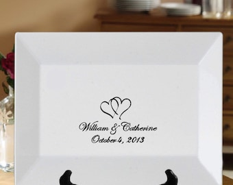 Wedding Guest Book Signature Platter: Two Linked Hearts Choice of Color 14x10 Rectangle Rimmed Personalized Custom Guestbook Alternative
