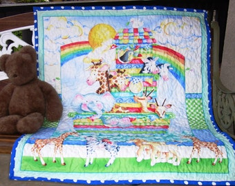 """Super Cute """"Baby Zoo Crew-Noah's Ark"""" 35""""x44"""" Quilt Baby Crib Nursery Bedding Toddler Blanket Stippling Quilted Napping Blanket Great Gift"""