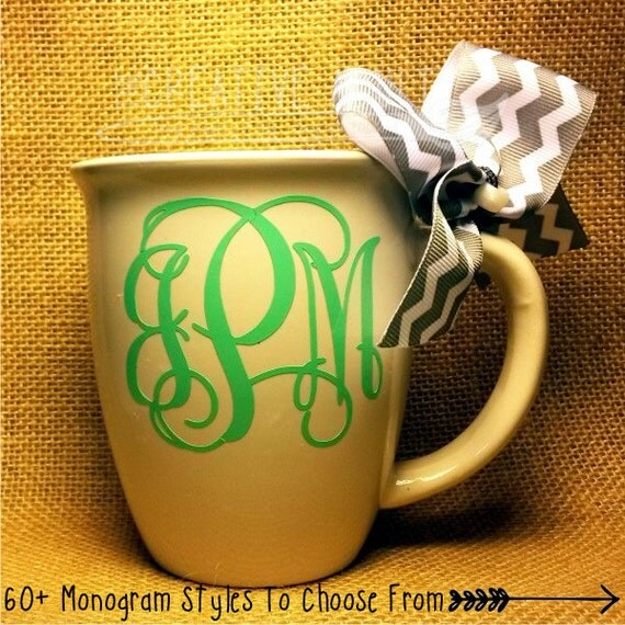 Monogrammed Coffee Mug Custom 60 Styles To By Thecreativeadult