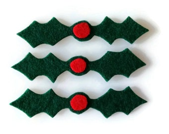 Holly Iron On Patch Set of 3 - No Sew - Felt
