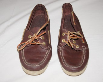 Vintage 1980's - Quoddy Leather Brown Boat Shoes Womens 8.5