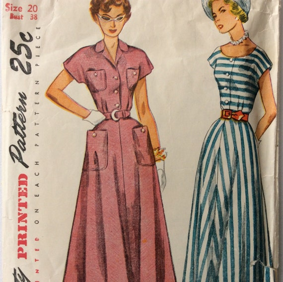 Simplicity 2910 vintage 1940 s woman s dress sewing pattern size 20