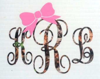 Camo Monogram with Bow ~ Two Color ~ Hunting ~ Antler ~ Country ~ Camoflauge ~ Vinyl ~ Decal ~ Sticker