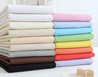 """Solid Cotton Linen Fabric, Medium Weight, 17 colors,  55"""" wide- 1/2 yard"""
