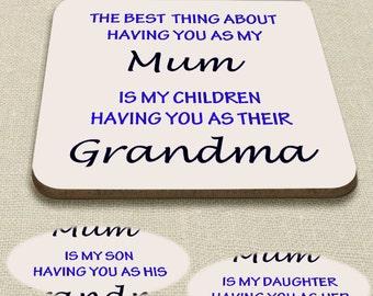 Coaster for Mum, Mothers Day Coaster, Gift for Mum - personalised for Grandma, Granny, Nana, Nanna & Nanny