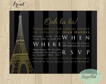 Gold Black Paris Themed Bridal Shower Invitation - Bridal Shower, Wedding Shower, Invitations, Invites, Shower, Paris, eiffel tower, striped