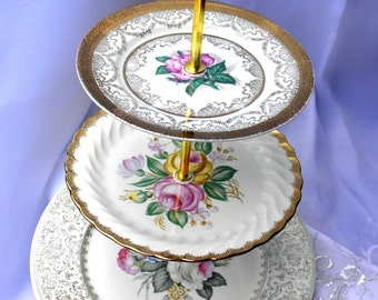 3 Tier Vintage Cake Cupcake Plate Stand Vintage Pink & Gold Floral Wedding Shower Hostess Gift Tea arty Shower