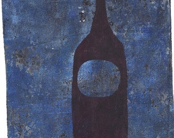 "black blue bottle monoprint original print original art ""nocturne"""
