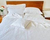 Queen/King Size Pure Linen Bed Flat Sheet Pillow Cases French Linen Shabby Chic Decor Wedding/Mothers Day Gift White