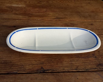 Door SOAP, Luneville earthenware, white and blue, 1940s. French vintage. Shabby chic