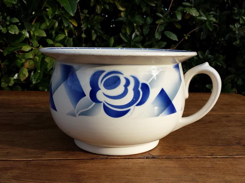 vase de nuit digoin sarreguemines motif floral bleu french. Black Bedroom Furniture Sets. Home Design Ideas