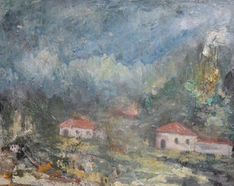 1987 Impressionist landscape oil painting signed