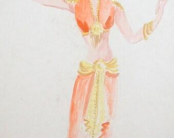 Vintage WC painting theatre costume design dancer woman signed