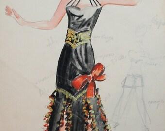 Vintage theatre costume design female dress portrait wc painting signed