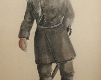 Antique Pastels Painting Soldier General Theatre Costume Design Signed