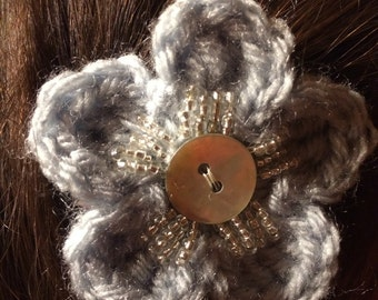 Crocheted Flower Barrette