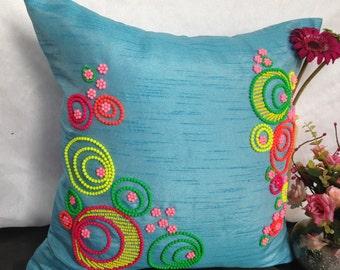 Blue neon pillow, Blue neon beads pillow, Blue decorative pillow, blue sofa toss, blue throw pillow, 16x16 blue pillow with neon beads