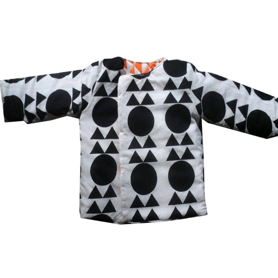 Handmade cotton quilted reversible jacket (kids) - Unisex (Orange/ Black & White geometric) Bohemian Chic Hipster Childrens Clothing