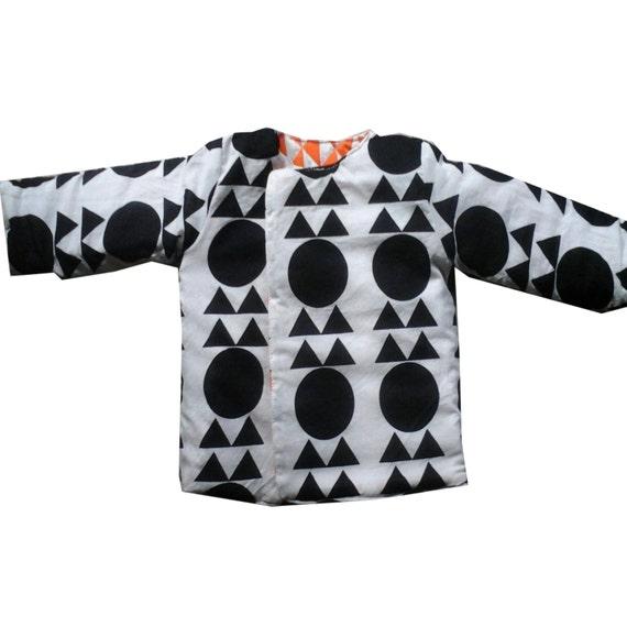 Handmade cotton quilted reversible jacket (kids) - Unisex (Orange/ Black & White geometric) Bohemian Chic Hipster Childrens Clothing