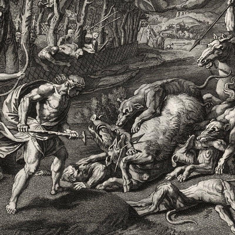 Meleager & Atalanta Hunting - Vintage Art Print - Greek ...