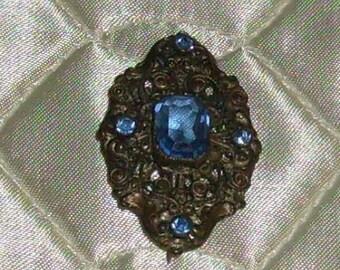 Ornate Vintage Pin w/Blue Gems