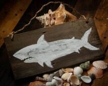 Shark decor Shark sign Rustic beach decor Beach house decor Ocean decor Ocean art Reclaimed wood sign Beach wood sign Nautical nursery decor