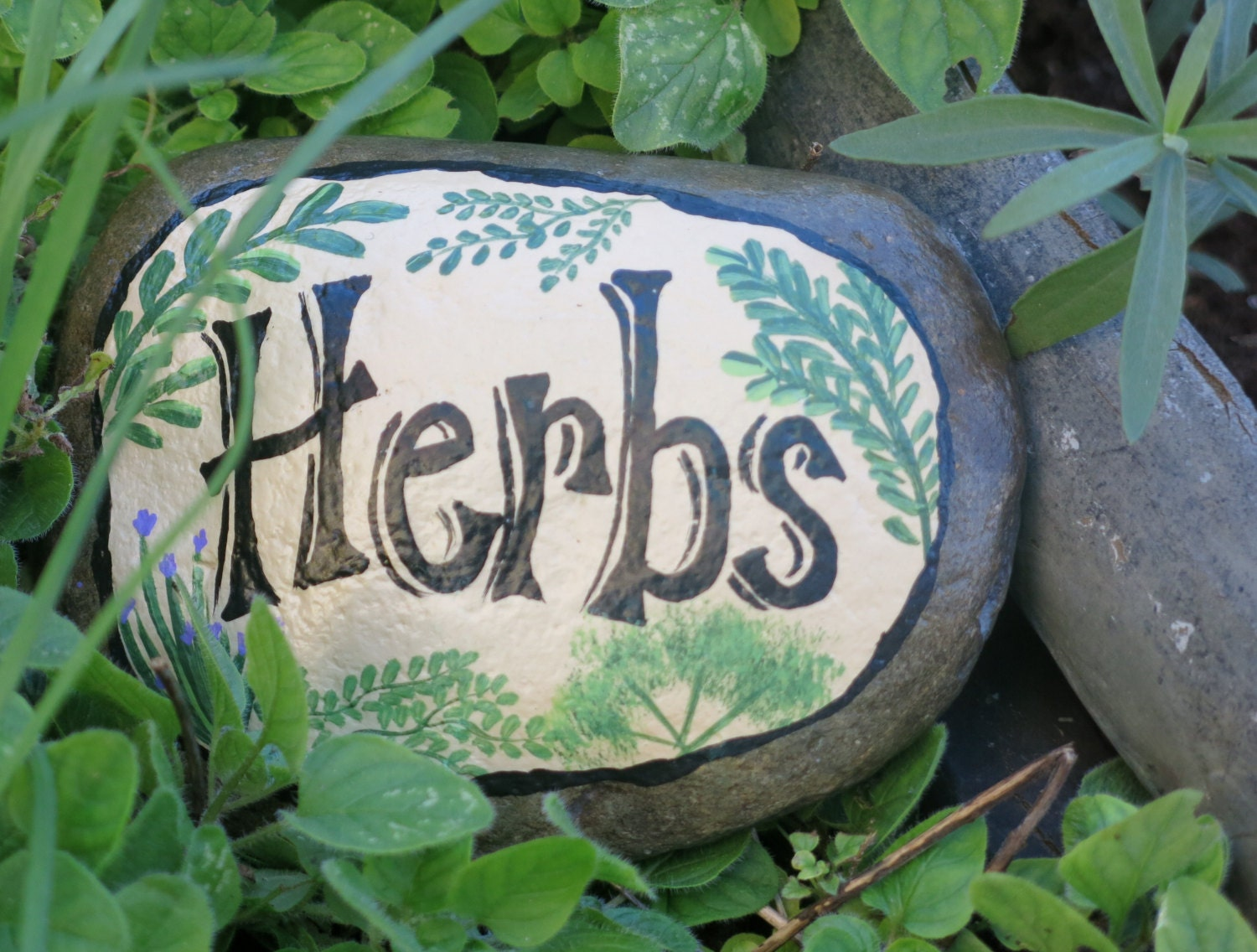 Painted garden rock herb marker stone vegetable by - Painting rocks for garden what kind of paint ...
