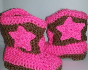 Baby cowboy booties can be made sizes 0-24 months.