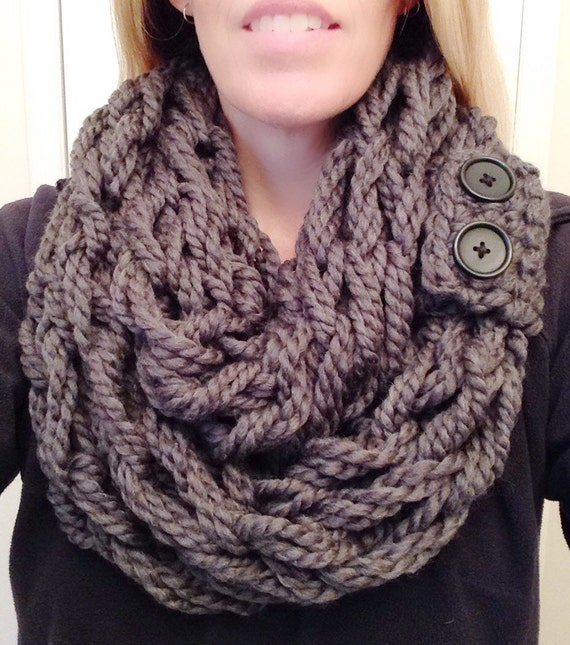 Arm Knit Infinity Scarf with Removable Button Cuff Detail