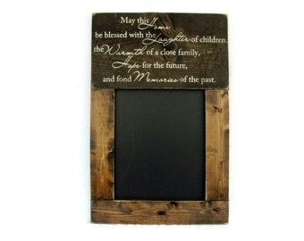 Chalkboard Large Rustic Wood Framed Gift Wall Decor - May This Home Be Blessed (#1067-CB)