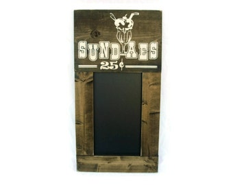 Kitchen Chalkboard Large Rustic Wood Framed Gift Wall Decor - Sundaes 25 cents (#1325-CB)
